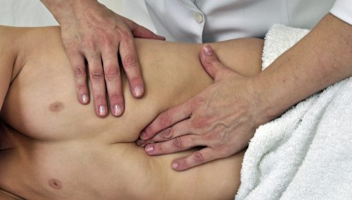 Pancreatic region technique in the side lying position