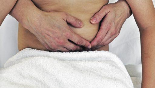 Sigmoid colon region technique in the sitting position